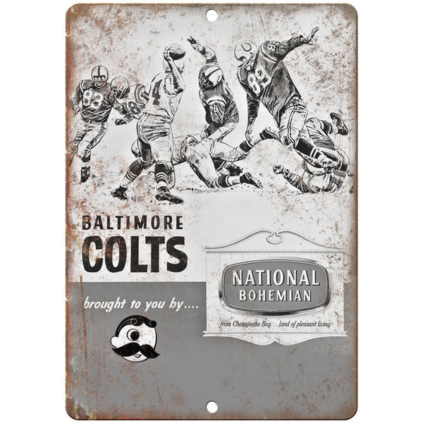 "National Bohemian Beer Baltimore Colts Ad 10"" x 7"" Retro Look Metal Sign"