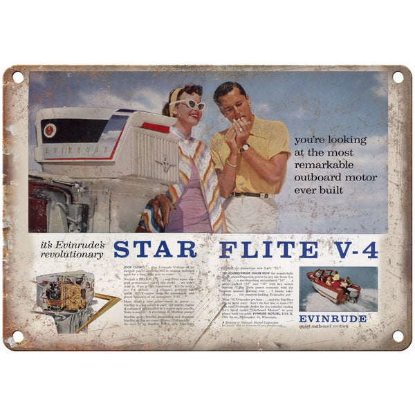 "Evinrude Star Flite V-4 Outboard Motors Boat 10"" x 7"" Reproduction Metal Sign"