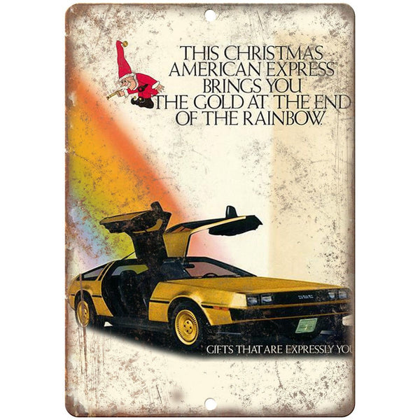 "AMC DeLorean American Express Christmas Ad - 10"" x 7"" Retro Look Metal Sign"