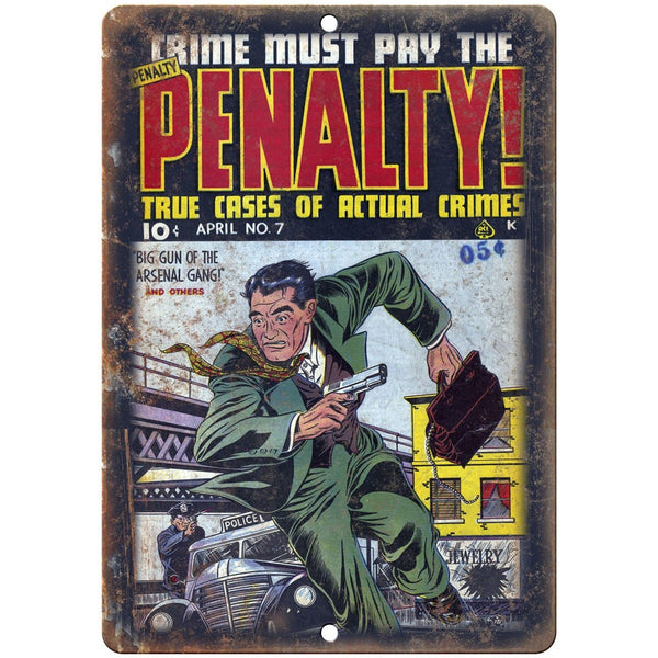 "Penalty Crime Comic Book Cover Art 10"" X 7"" Reproduction Metal Sign J300"