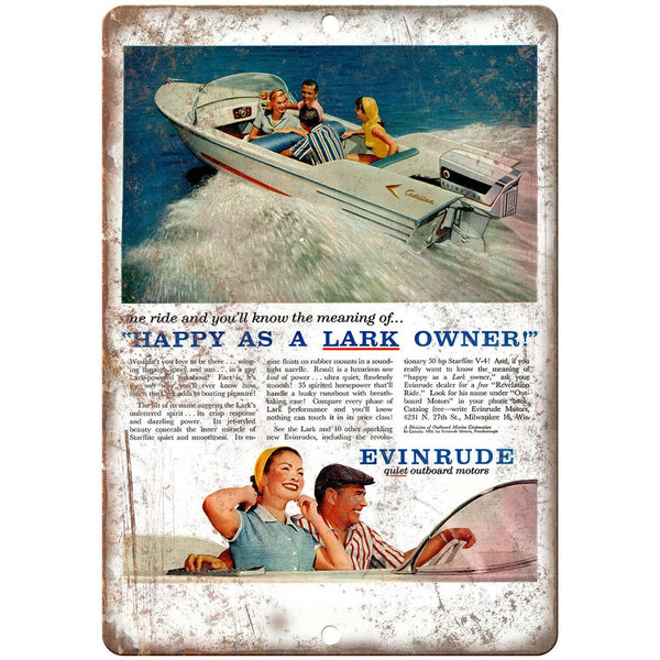"Evinrude Outboard Motors Lark II Vintage Ad 10"" x 7"" Reproduction Metal Sign"