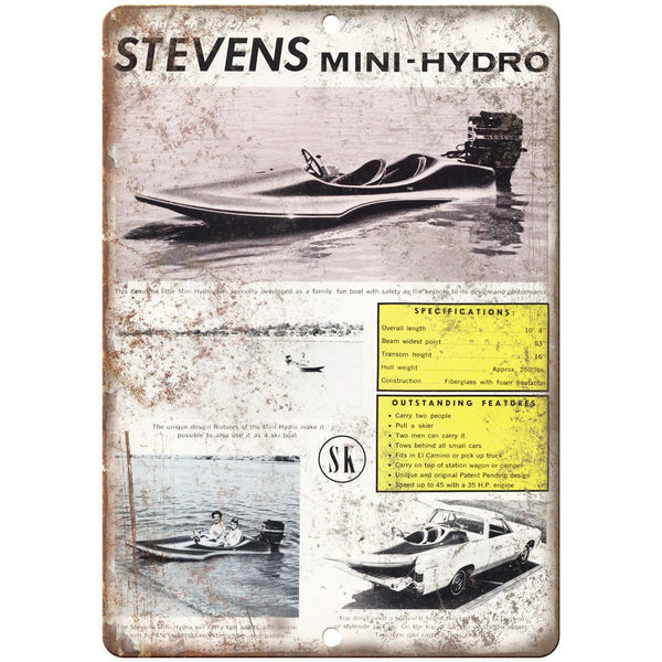"Stevens Mini-Hydro Boat Vintage Ad 10"" x 7"" Reproduction Metal Sign L83"