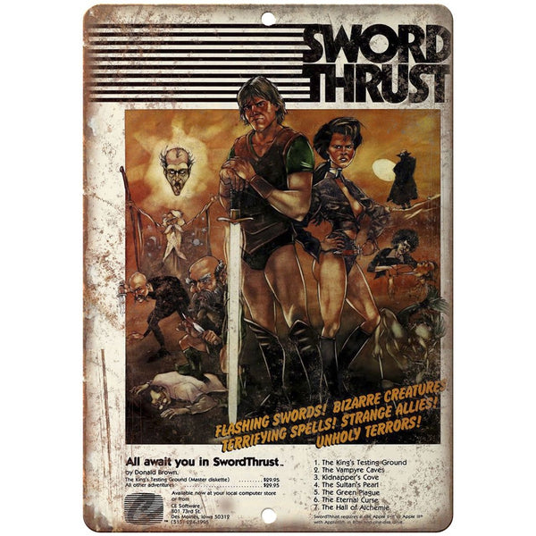"CE Software Sword Thrust RARE Video Game Cover 10"" x 7"" Retro Look Metal Sign"