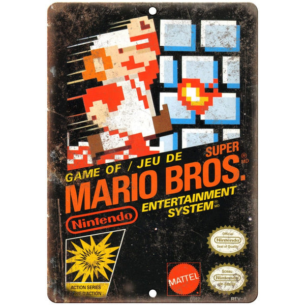 "Nintendo Super Mario Brothers Cartrige Art - 10"" x 7"" Reproduction Metal Sign"
