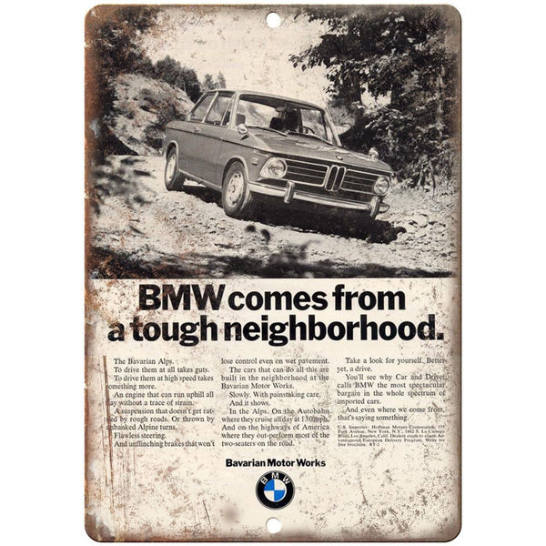 "BMW Bavarian Motor Works Retro Ad 10"" x 7"" Reproduction Metal Sign A118"