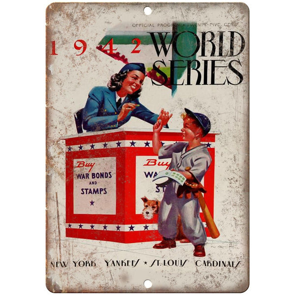 "1942 Yankees Cardinals World Series Program 10"" x 7"" Reproduction Metal Sign X03"