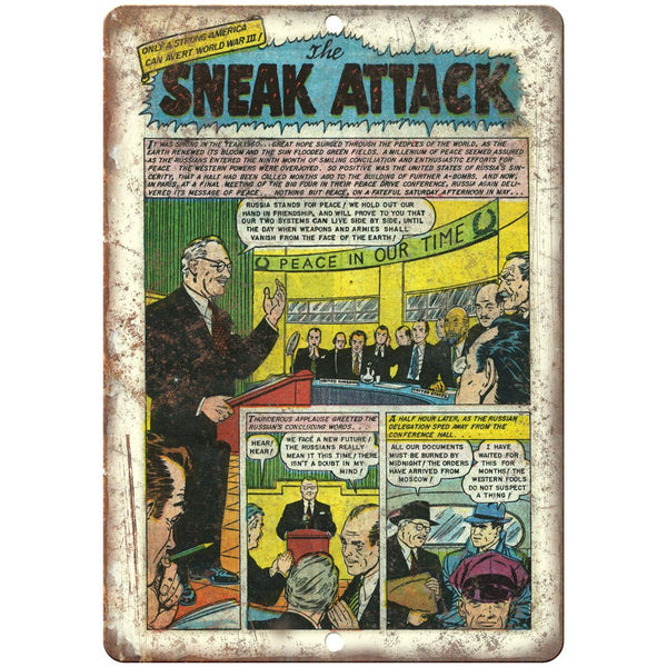 "The Sneak Attack Vintage Comic Strip 10"" x 7"" Reproduction Metal Sign J513"