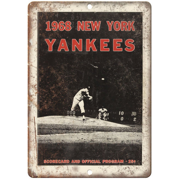 "1968 New York Yankees Program and Scorecard 10"" x 7"" Reproduction Metal Sign X27"