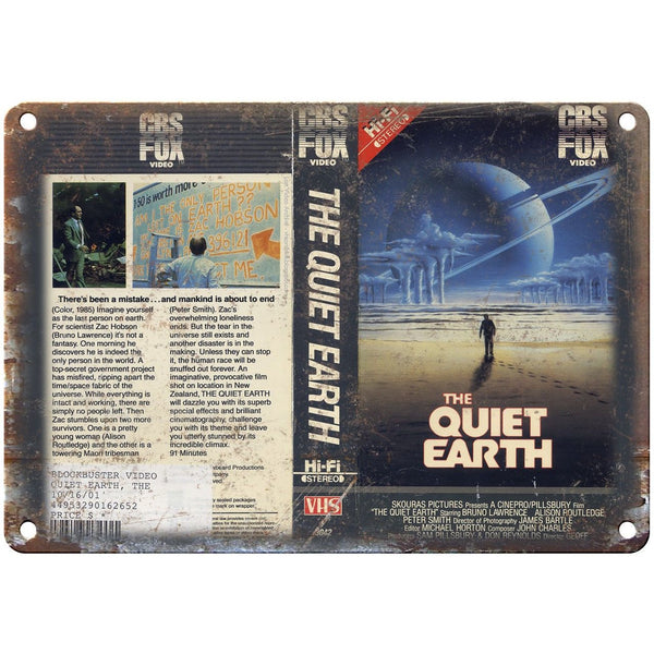 "The Quiet Earth CBS Fox Video VHS Box Art 10"" X 7"" Reproduction Metal Sign V20"