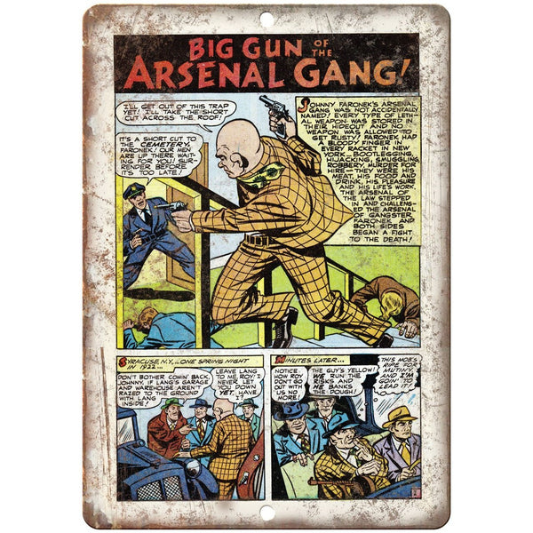"Ace Comics Big Gun of the Arsenal Gang 10"" X 7"" Reproduction Metal Sign J370"