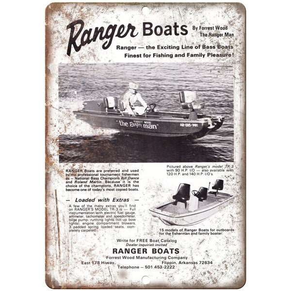 "Ranger Bass Boats Boating Fishing 10"" x 7"" Reproduction Metal Sign"
