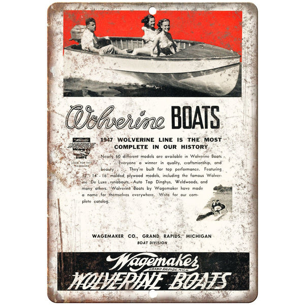 "1947 Wagemakes Wolverine Boat Vintage Ad 10"" x 7"" Reproduction Metal Sign L89"