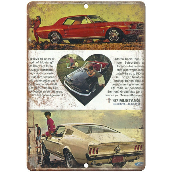 "1967 Ford Mustang 10"" x 7"" Reproduction Metal Sign"