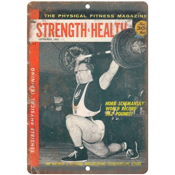 "1962 - Strength & Health Norb Schemansky Weights 10"" x 7"" Retro Look Metal Sign"