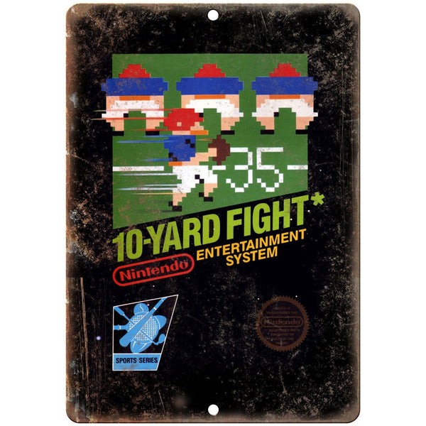 "Nintendo 10 Yard Fight Game Cartrige - 10"" x 7"" Reproduction Metal Sign"