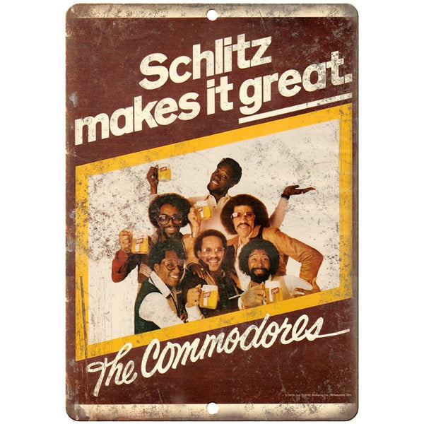 "Schlitz Beer The Commodores RARE ad 10"" x 7"" Reproduction Metal Sign"