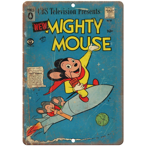 "Pines Comic Mighty Mouse Vintage 10"" X 7"" Reproduction Metal Sign J268"