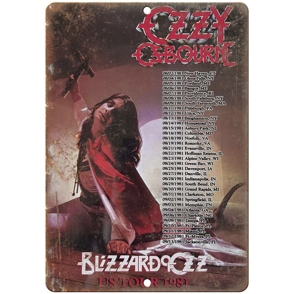 "Ozzy Blizzard of Ozz 1981 vintage concert flyer 10"" x 7"" retro metal sign K13"