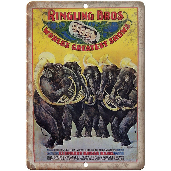 "Ringling Bros Elephant Brass Band Poster 10"" X 7"" Reproduction Metal Sign ZH26"