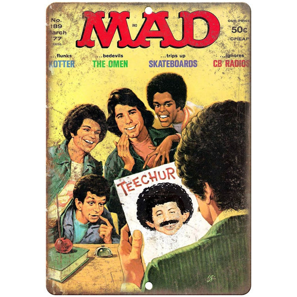 "1977 MAD Magazine Welcome Back Kotter Cover 10'"" x 7"" reproduction metal sign"