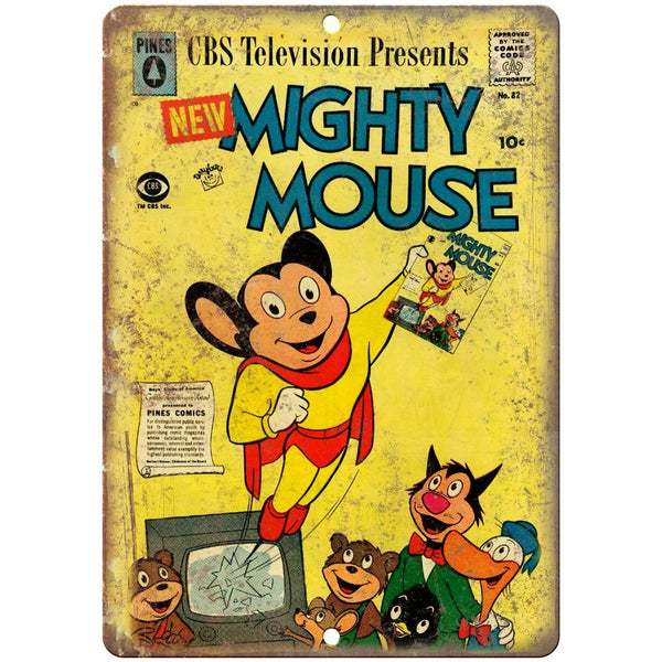 "Pines Comics Mighty Mouse CBS Cartoon Ad 10"" X 7"" Reproduction Metal Sign J454"