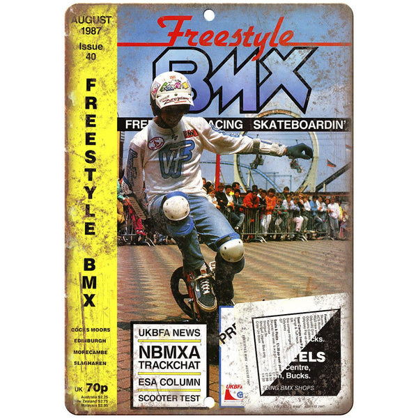 "1987 Freestyle BMX Magazine Cover 10"" x 7"" Reproduction Metal Sign B476"