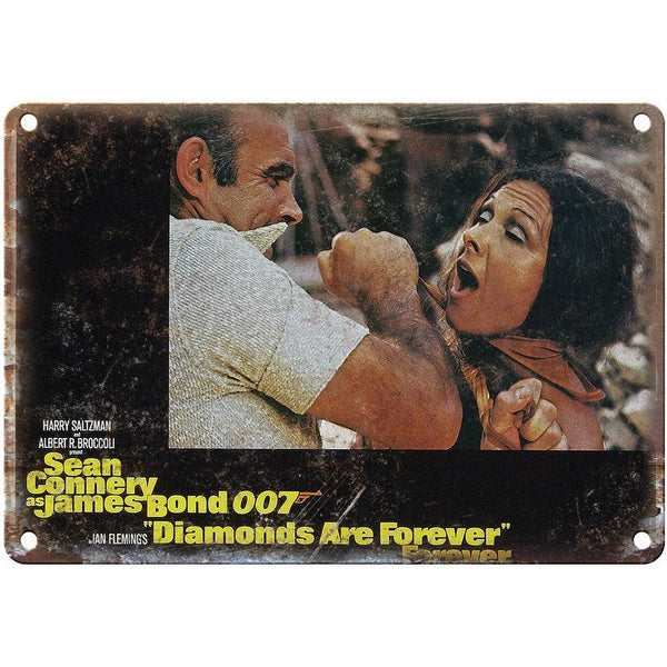 "James Bond, 007, Diamonds Are forever, Sean Connery 10"" x 7"" retro metal sign"