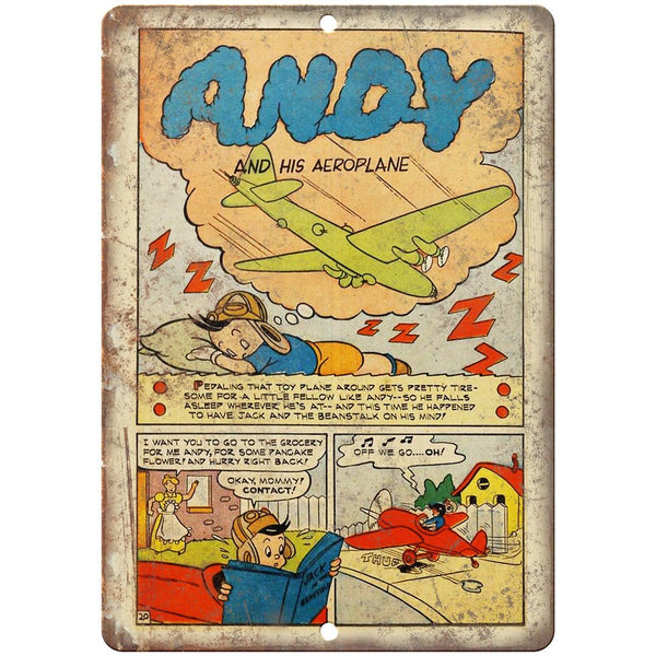 "Andy And His Aeroplane Comic Strip Ad 10"" x 7"" Reproduction Metal Sign J562"