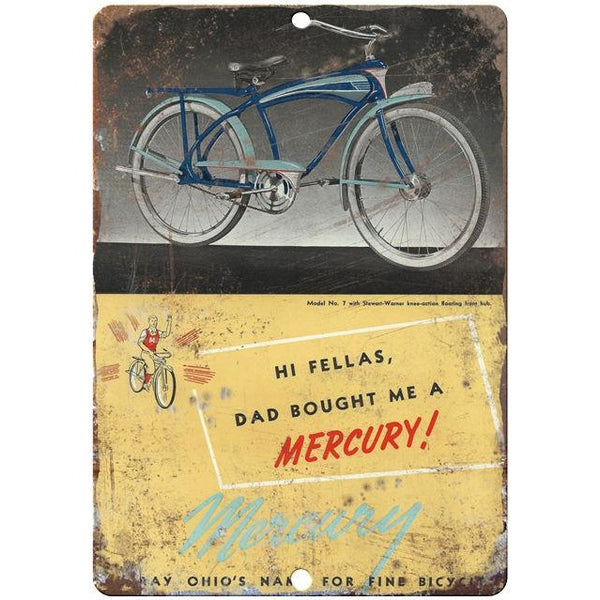 "Mercury bicycle vintage advertising 10"" x 7"" reproduction metal sign"