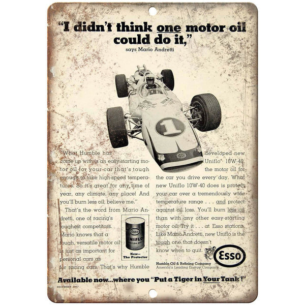 "Esso Mario Andretti Motor Oil Ad 10"" X 7"" Reproduction Metal Sign A838"