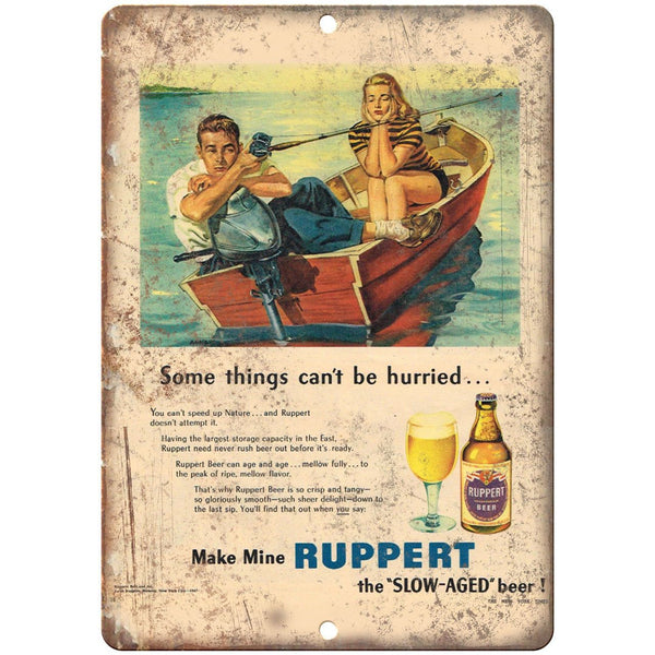 "Ruppert Slow Aged Beer Vintage Bar Ad 10"" x 7"" Reproduction Metal Sign E379"
