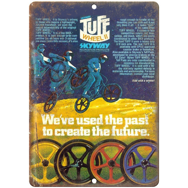 "Skyway BMX Tuff Wheels Mag 10"" x 7"" Metal Sign Vintage Look Reproduction"