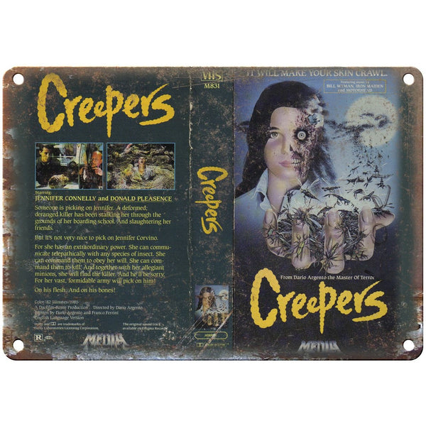 "Creepers Media Video VHS Box Art 10"" X 7"" Reproduction Metal Sign V21"
