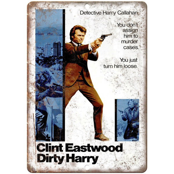 "Dirty Harry Clint Eastwood Movie Poster 10"" x 7"" Reproduction Metal Sign"