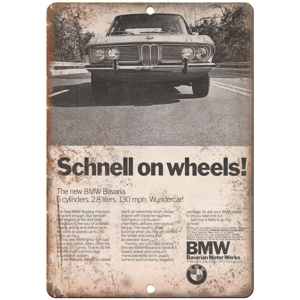 "BMW Schnell Bavaria Motor Workd Ad 10"" x 7"" Reproduction Metal Sign A116"