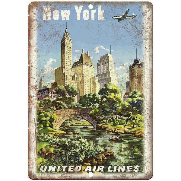 "New York United Air Lines Travel Poster 10"" x 7"" Reproduction Metal Sign T90"