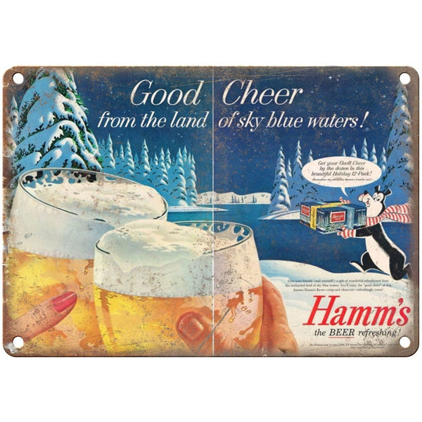 "10"" x 7"" Metal Sign - Hamm's Beer Ad Good Cheer - Vintage Look Reproduction"