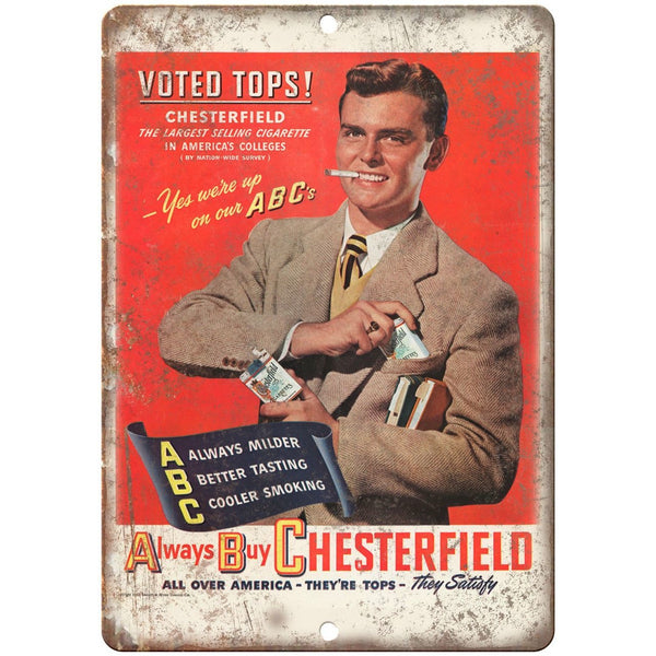 "Chesterfield ABC Cigarette Tobacco Ad 10"" X 7"" Reproduction Metal Sign Y15"