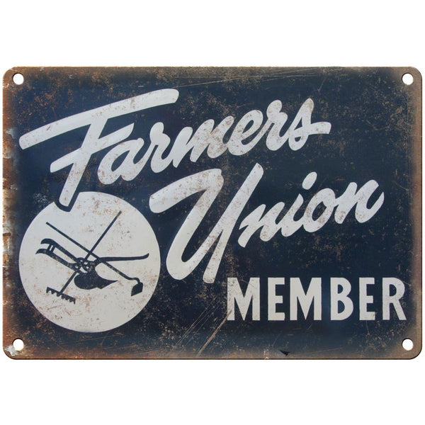 "Porcelain Look Farmers Union Member 10"" x 7"" Retro Look Metal Sign"