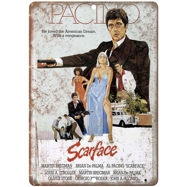 "Scarface Al Pachino RARE VHS Cover 10"" x 7"" Reproduction Metal Sign"