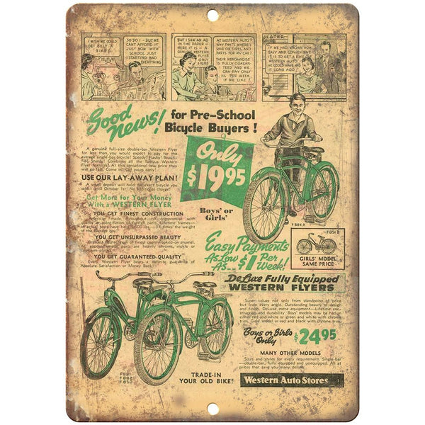 "1939 Western Flyer Bicycle Ad - 10"" x 7"" Retro Look Metal Sign"