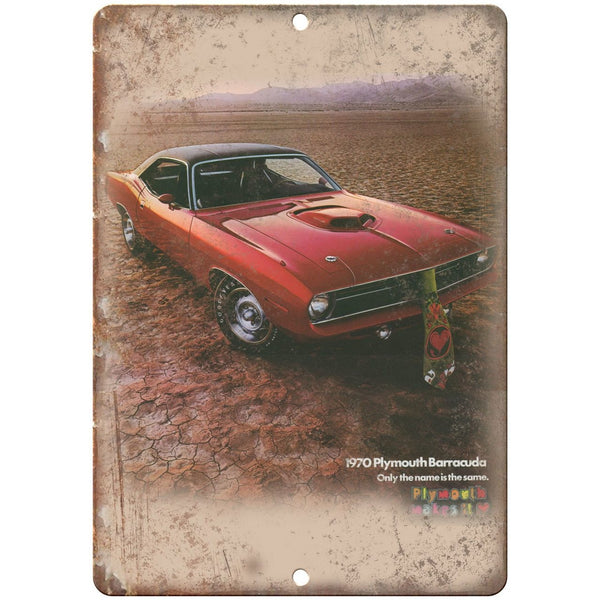 "1970 Plymouth Barracuda Car Flyer Ad 10"" x 7"" Reproduction Metal Sign"