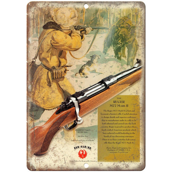 "Ruger M77 Mark II Rifle 10"" x 7"" Reproduction Metal Sign"