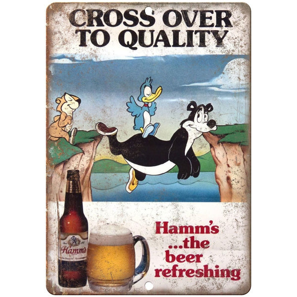 "10"" x 7"" Metal Sign Hamm's Beer Cross Over To Quality Vintage Look Reproduction"