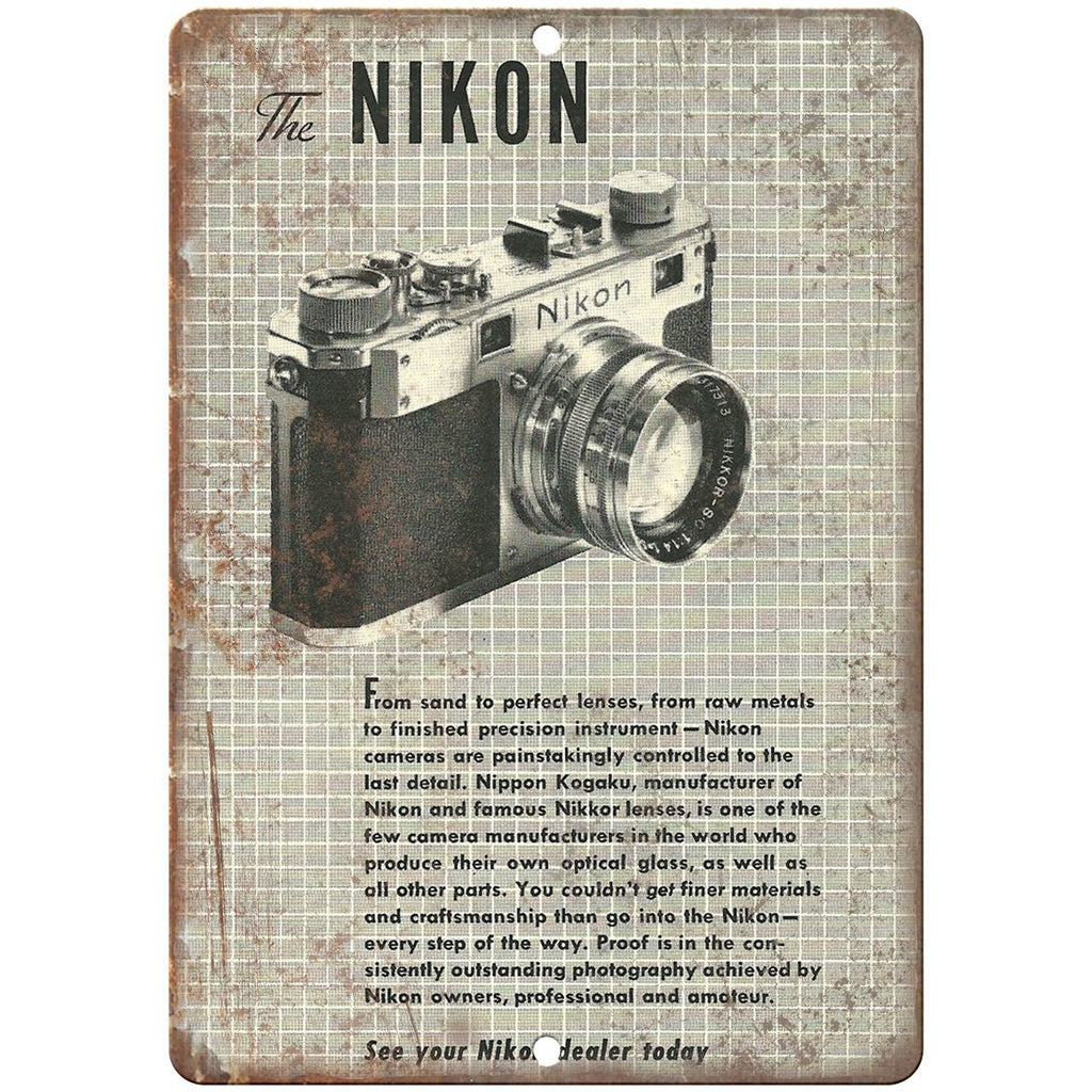 "Nikon S 1953 vintage advertisment 10"" x 7"" reproduction metal sign"