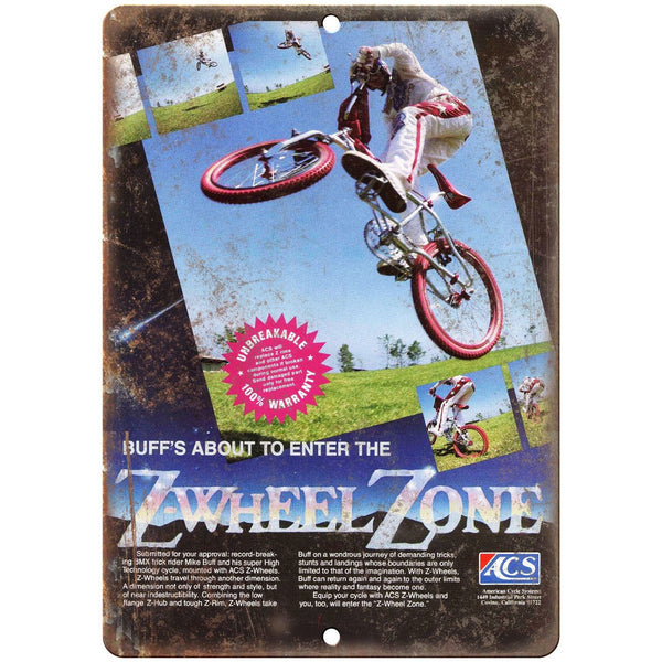 "ACS Z-Wheel Zone America Cycle Systems BMX 10"" x 7"" Reproduction Metal Sign B466"