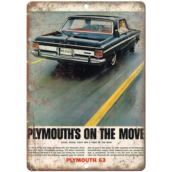 "1963 - Plymouth Fury RARE ad 10"" x 7"" Reproduction Metal Sign"