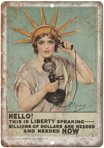 "1918 Lady Liberty Buy War Bonds Poster 10"" x 7"" Reproduction Metal Sign M101"