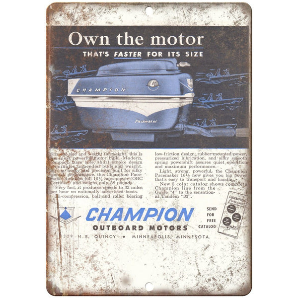 "Champion Outboard Motors Vintage Boating Ad 10"" x 7"" Reproduction Metal Sign"