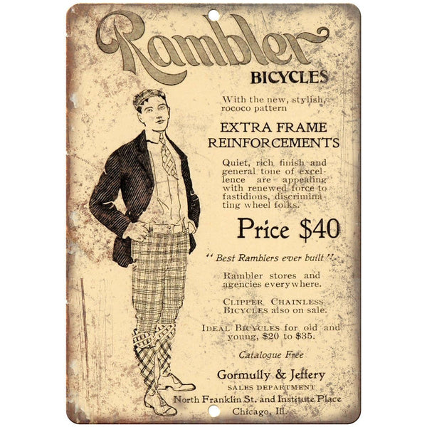 "Rambler Bicycles Vintage Ad 10"" x 7"" Reproduction Metal Sign B387"